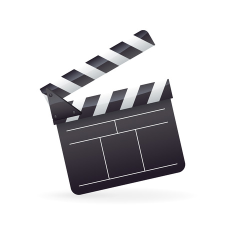 Realistic detailed cinema film clapper icon with striped edges isolated on white background illustration Vector