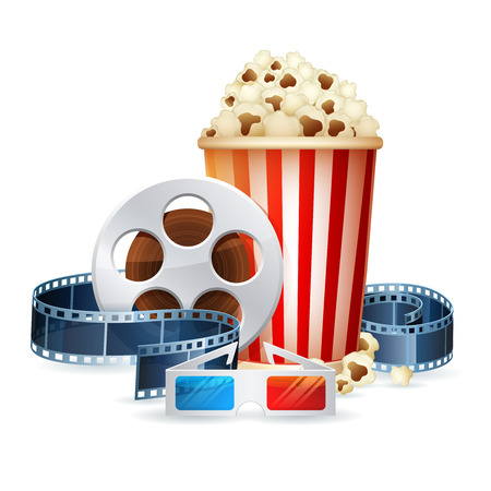 Cinema and movie realistic objects isolated on white, film reel, clapper, popcorn, 3D glasses detailed vector illustration