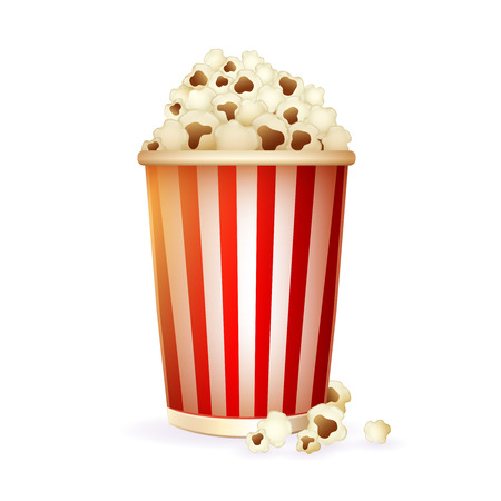Realistic striped disposable paper cup with detailed popcorn for watching movies icon isolated on white background illustration Stock Illustratie
