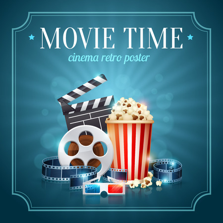 Realistic cinema movie poster template with film reel, clapper, popcorn, 3D glasses, conceptbanners with bokeh Illusztráció