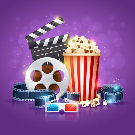 Realistic cinema movie poster template with film reel, clapper, popcorn, 3D glasses, conceptbanners with bokeh Vectores