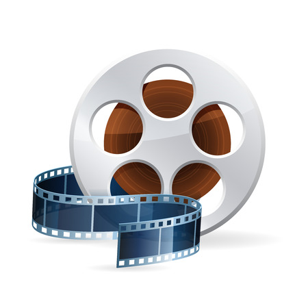 Realistic detailed cinema bobbin with rolled film reel strip icon isolated on white background illustration