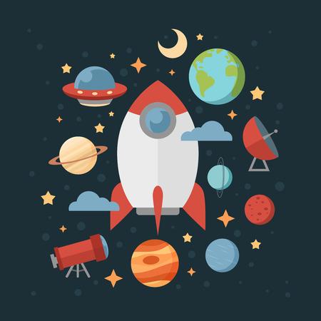 Raumthema Banner und Karten mit Flach astronomische Symbole der Planeten, Rakete, Sterne, Teleskop-Design, Einladungen und Werbe Standard-Bild - 39386044