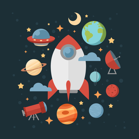 Space theme banners and cards with flat astronomic symbols of planets, rocket, stars, telescope for design, invitations and advertisement Illusztráció