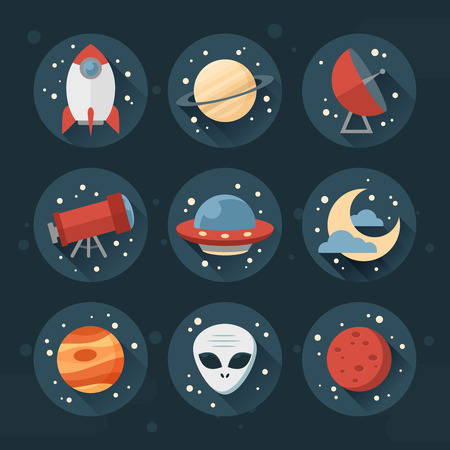 Astronomic round set of flat space icons for user interface with planets, rocket, telescope, ufo, stars and long shadows Vettoriali