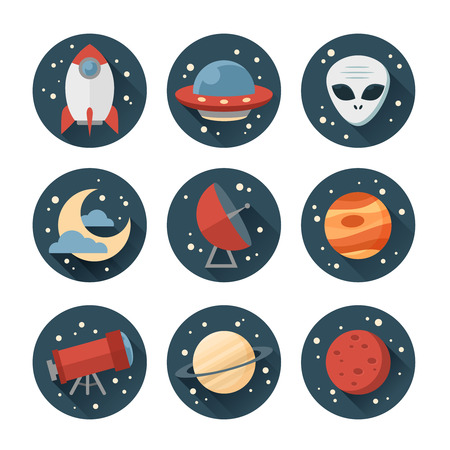 Astronomic round set of flat space icons for user interface with planets, rocket, telescope, ufo, stars and long shadows Vector