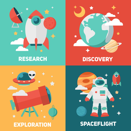 Space theme banners and cards with flat astronomic symbols of planets, rocket, stars, telescope for design, invitations and advertisement Illustration