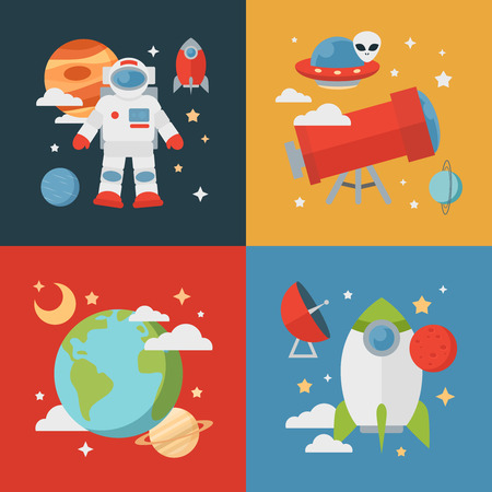 Space theme banners and cards with flat astronomic symbols of planets, rocket, stars, telescope for design, invitations and advertisement  イラスト・ベクター素材
