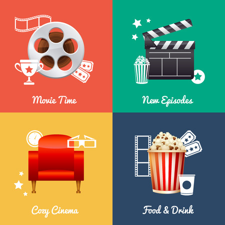 movie and popcorn: Cinematography set of square movie banners with film reel, clapper, popcorn, 3D glasses, cinema armchair isolated icons