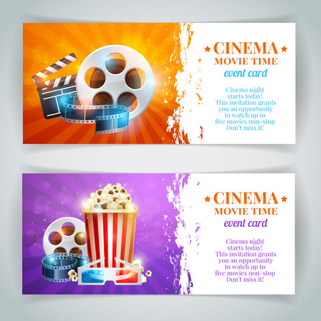 Realistic cinema movie poster template with film reel, clapper, popcorn, 3D glasses, conceptbanners with bokeh Vettoriali