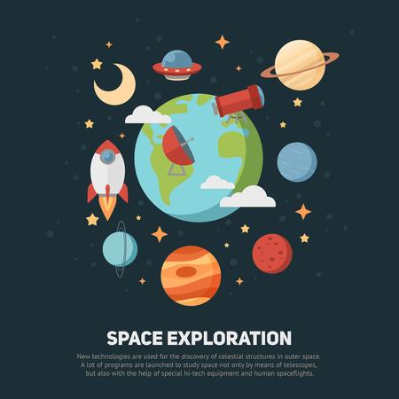 スペース テーマのバナーやカードは平らな惑星、ロケット、星、広告、招待状のデザインのための望遠鏡の天文記号 写真素材 - 39556715