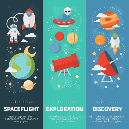 Space theme banners and cards with flat astronomic symbols of planets, rocket, stars, telescope for design, invitations and advertisement Stock Illustratie