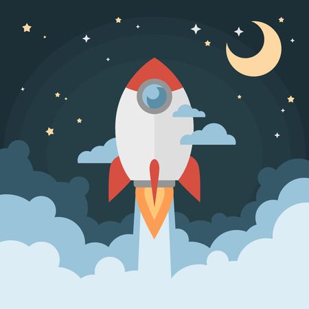 Cartoon modern flat rocket launch flying in space with moon and stars on background for prints posters flyers startups