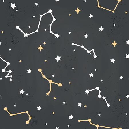 costellazioni: Seamless pattern ripetuto con costellazioni dei cartoni animati di stelle su un cielo di sfondo grungy Vettoriali