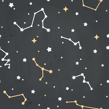 constellations: Seamless repeating pattern with cartoon constellations of stars on a sky grungy background