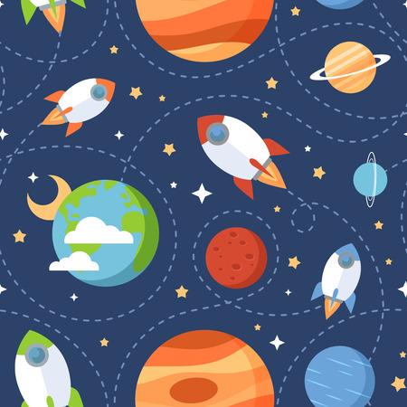 raumschiff: Nahtlose Kinder Cartoon Raummuster mit Raketen Planeten Sterne und Universum über den dunklen Nachthimmel Hintergrund