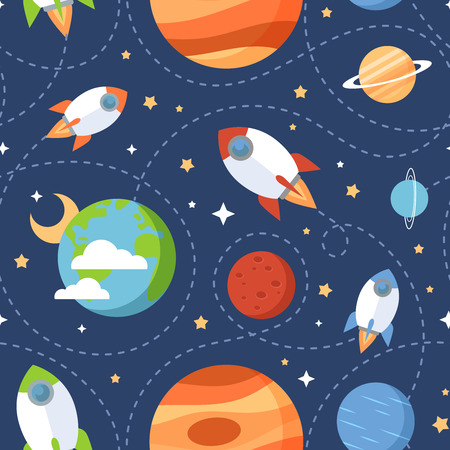 space: Seamless children cartoon space pattern with rockets planets stars and universe over the dark night sky background