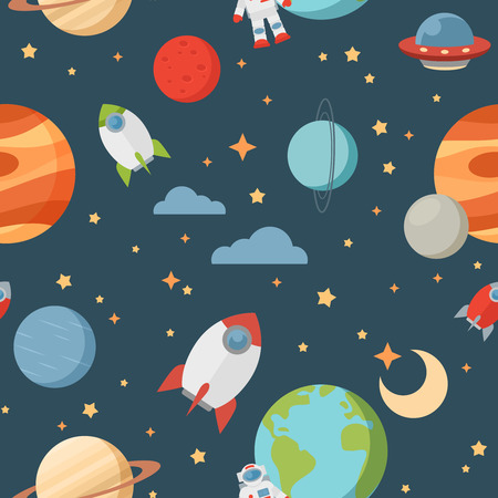 Seamless children cartoon space pattern with rockets planets stars and universe over the dark night sky background