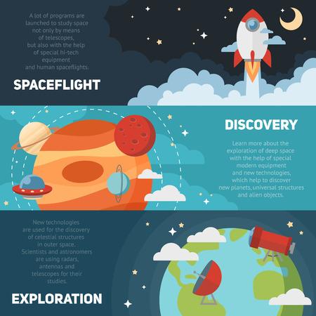 Banderas del tema Espacio y tarjetas con símbolos astronómicos planas de estrellas planetas cohetes telescopio para las invitaciones de diseño y publicidad Vectores