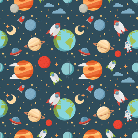 Seamless children cartoon space pattern with rockets planets stars and universe over the dark night sky background 版權商用圖片 - 40171567