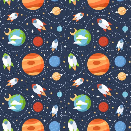 luna caricatura: Modelo incons�til de los ni�os de dibujos animados con el espacio cohetes planetas estrellas y el universo sobre el cielo de fondo noche oscura