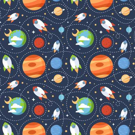 stars cartoon: Seamless children cartoon space pattern with rockets planets stars and universe over the dark night sky background