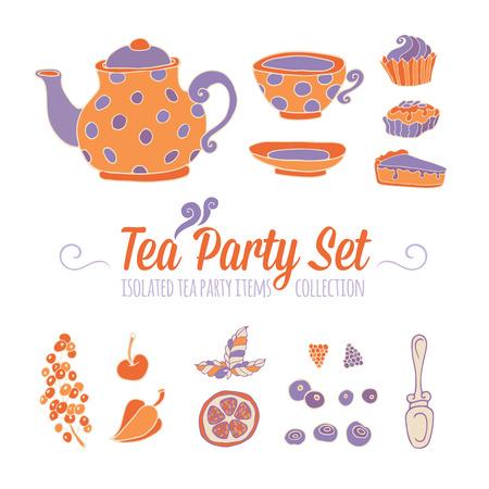 cup cakes: Un conjunto de objetos de fiesta para la hora del t� la mano Dibujado aislado en fondo blanco cup cakes tetera y bayas