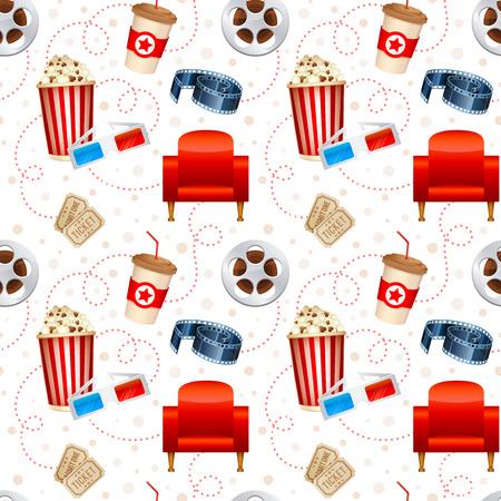 palomitas: Cine textura sin fisuras con un patrón de película detallada objetos gafas película carrete palomitas 3D asientos