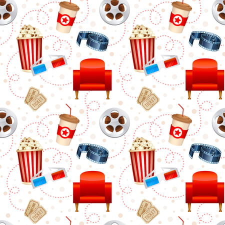 Cinema seamless texture with a pattern of detailed movie objects film reel popcorn 3D glasses seats