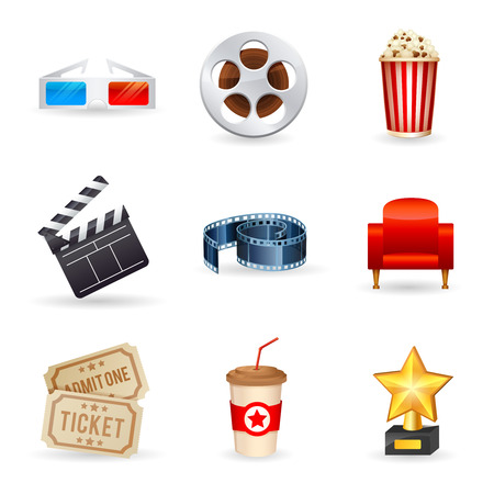 palomitas: Un conjunto detallado de los iconos del cine realista para la web y el diseño con símbolos de la película gafas 3D boletos palomitas rollo de película