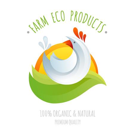 친환경 및 유기농 천연 제품 다채로운 styllized 만화 로고 그림 농장 닭 기호 아이콘