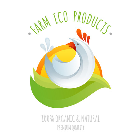 cartoon chicken: Farm chicken symbol icon for eco and organic natural products colorful styllized cartoon logo illustration