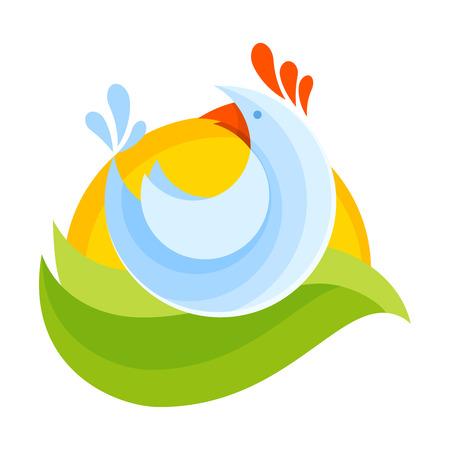エコと天然有機化合物カラフルな styllized 漫画のロゴ イラストのファーム鶏シンボル アイコン