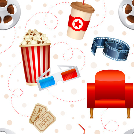 cinematograph: Cinema seamless texture with a pattern of detailed movie objects film reel popcorn 3D glasses seats