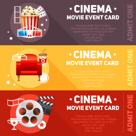 cinema ticket: Realistic cinema movie poster template with film reel clapper popcorn 3D glasses conceptbanners with bokeh