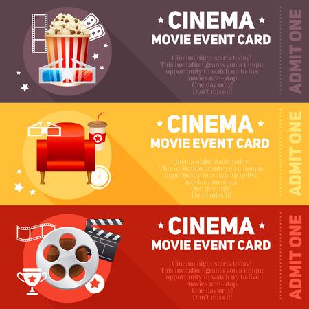 Realistische cinema filmposter sjabloon met film reel klepel popcorn 3D bril conceptbanners met bokeh Stock Illustratie