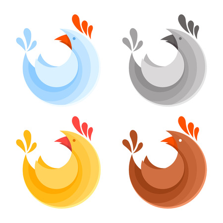 A collection of farm chicken icons for eco products colorful set of styllized cartoon logo illustration Ilustrace