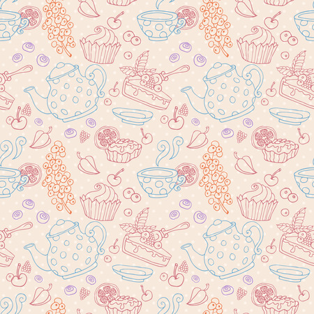 cup cakes: Ornament seamless pattern with tea party objects - teapot, cup, cakes, berries, decorative elements Stock Photo