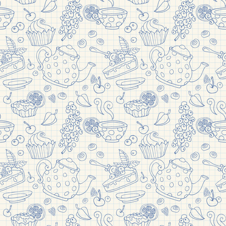 cup cakes: Ornament seamless pattern with tea time objects - teapot, cup, cakes, berries on a notebook paper sheet background Stock Photo