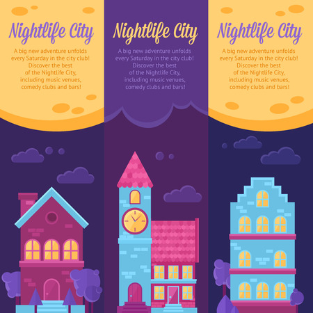 city life: City life urban landscape banners with trendy flat houses icons and text for advertisement