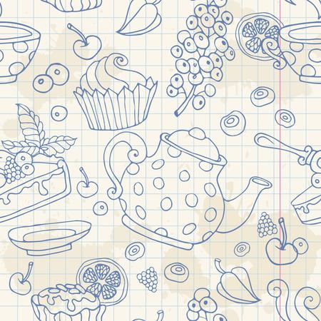 cup cakes: Modelo incons�til Ornamento con la hora del t� objetos tortas de la tetera de bayas sobre un fondo de hoja de papel de cuaderno Vectores
