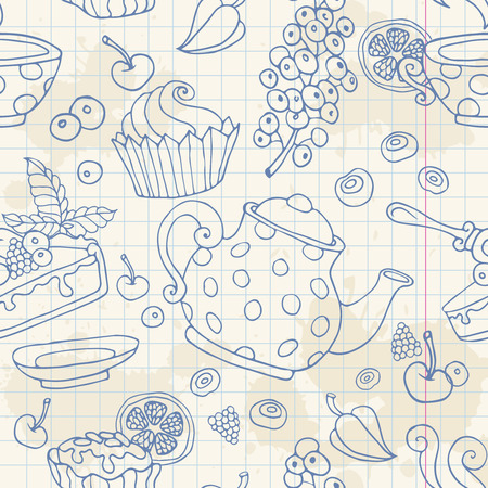 notebook paper background: Ornament seamless pattern with tea time objects teapot cup cakes berries on a notebook paper sheet background