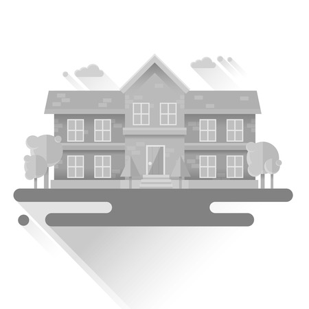 Flat houses trendy set of buildings icons  isolated on white background