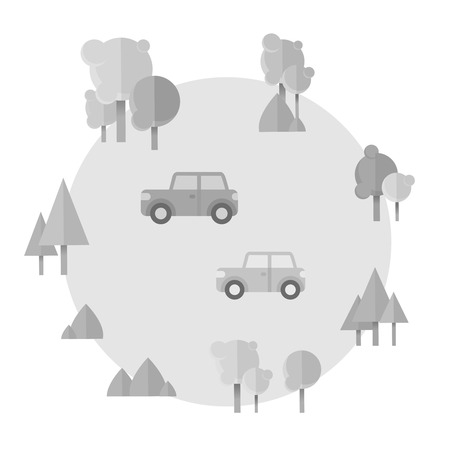 Flat cartoon cards with cars and forest icons on a circle background
