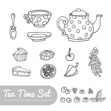 cup cakes: A set of party objects for tea time hand drawn isolated on white background teapot cup cakes and berries Illustration