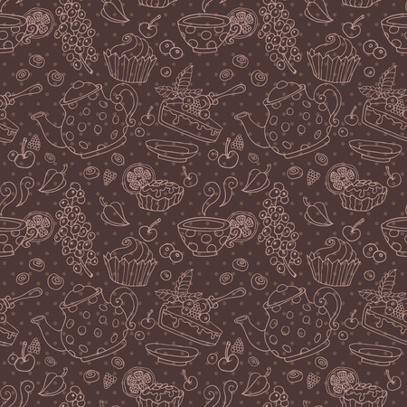 cup cakes: Ornament seamless pattern with tea party objects teapot cup cakes berries decorative elements