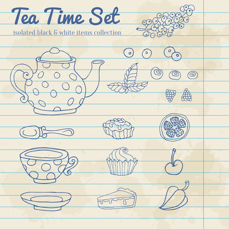 cup cakes: Un conjunto de objetos de fiesta para la hora del t� dibujado a mano aislado en tortas y taza de bayas de hoja de papel de nota de fondo de la tetera