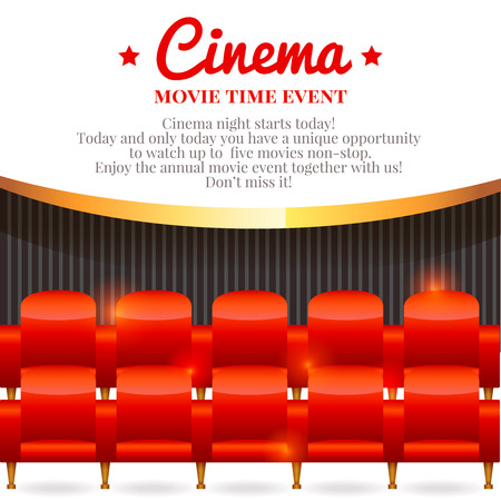 Elegant movie card with rows of empty chairs in cinema hall inviting to performance Vectores