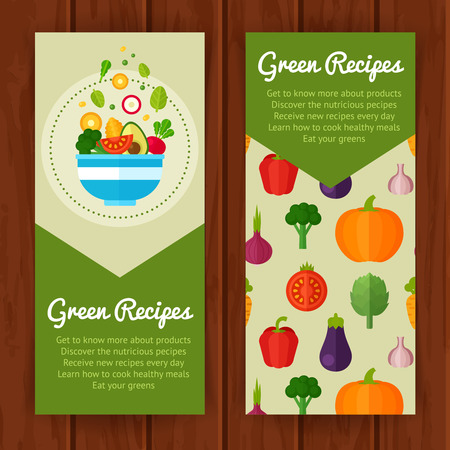 Advertisement set of concept banners with flat vegetable icons for vegetarian restaurant home cooking menu and organic healthy eating recipes Çizim