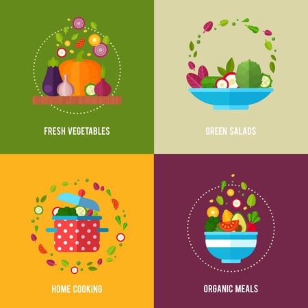 Advertisement set of concept banners with flat vegetable icons for vegetarian restaurant home cooking menu and organic healthy eating recipes 向量圖像
